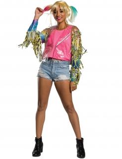 Harley Quinn™-Jacke für Damen Faschingskostüm transparent-bunt
