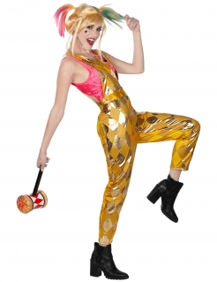 Harley Quinn™-Latzhose für Damen Birds of Prey™ Halloweenkostüm gold