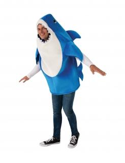 Offizielles Daddy Shark™-Kostüm für Herren mit Soundsystem Baby Shark™ blau-weiss