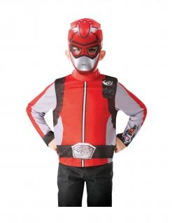 Power Rangers™-Kostüm für Kinder mit Maske Faschingskostüm rot-silber