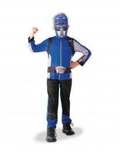 Power Rangers™-Kostüm für Kinder blauer Ranger Faschingskostüm blau-schwarz