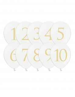 Zahlen-Latexballons 10-teilig weiß-goldfarben 30 cm