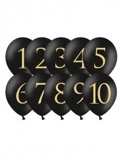 Ziffern-Luftballons Zahlen 1-10 Partydeko schwarz-gold 30 cm