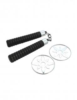 Ninja-Zubehörset für Kinder Nunchaku und Shuriken 3-teilig schwarz-silber