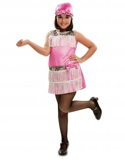 Charleston-Kostüm für Mädchen 20er-Kostüm Fasching pink