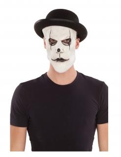 Pantomime-Maske mit Hut schwarz-weiss