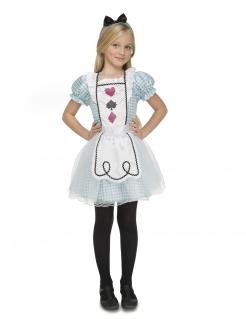 Wunderland-Kostüm für Mädchen Faschingskostüm blau-weiss-schwarz