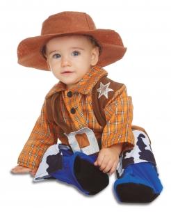 Cowboy-Kostüm für Babys Faschingskostüm braun-blau