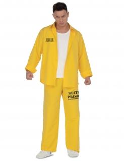 Gefangener-Kostüm für Herren Sträflingskostüm Fasching gelb-schwarz