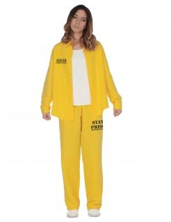 Gefangene-Kostüm für Damen Sträfling Faschingskostüm gelb