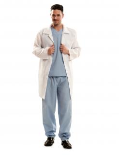Arzt-Kostüm für Herren Faschingskostüm weiss-blau