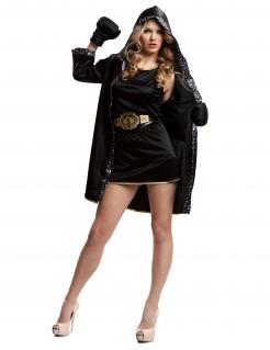 Boxerin-Kostüm für Damen Sport-Kostüm Fasching schwarz-gold