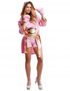 Boxer-Kostüm für Damen Sport-Kostüm Fasching rosa-gold