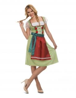 Dirndl für Damen Oktoberfest Frühlingsfest grün-rot