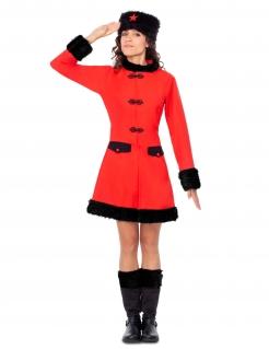 Russisches Soldaten-Kostüm für Damen Faschingskostüm rot-schwarz