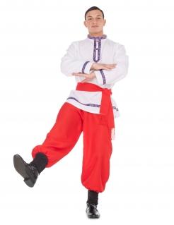 Russisches Tänzer-Kostüm für Herren Faschingskostüm rot-weiss