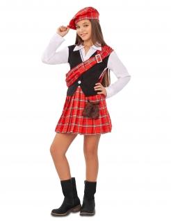 Schotten-Kostüm für Mädchen Faschingskostüm rot-schwarz-weiss