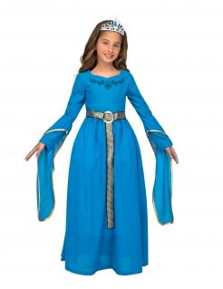 Mittelalter-Prinzessin Kostüm für Mädchen Faschingskostüm blau