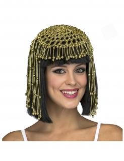 Kleopatra-Perücke mit Kopfschmuck schwarz-gold