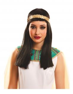 Kleopatra-Perücke mit Haarband schwarz-gold