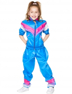 80er-Kostüm für Kinder Jogginganzug blau-pink
