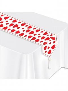 Herz-Tischläufer Partydeko Valentinstag rot-weiss 28 cm x 1,82 m