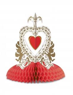 Valentinstag-Tischdeko Deko-Aufsteller Herz und Engelchen 30 cm rot-weiss-gold