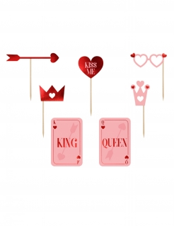 Photobooth-Accessoires Liebe Valentinstag Hochzeit 7-teilig rot-rosa