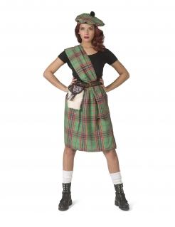 Schottin-Kostüm für Damen Faschingskostüm grün-rot