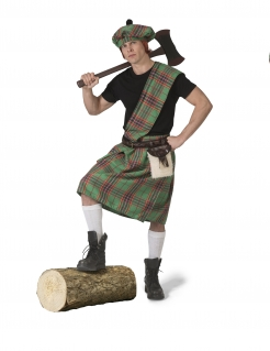 Schotten-Kostüm für Herren Faschingskostüm grün-grau