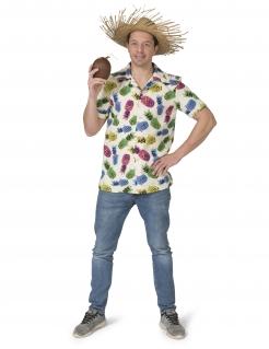 Ananas-Hemd für Herren Hawaii-Kostüm Fasching weiss-bunt