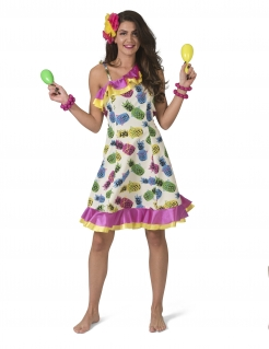 Rumba-Tänzerin-Kostüm mit Ananas bunt