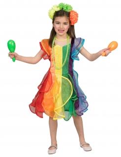 Regenbogen-Tänzerin-Kostüm für Mädchen Fasching bunt