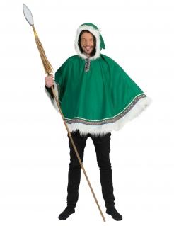 Eskimo-Kostüm für Herren Eskimo-Poncho Faschingskostüm grün-weiss