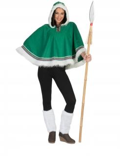 Eskimo-Kostüm für Damen Eskimo-Poncho Faschingskostüm grün-weiss