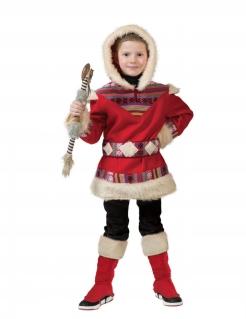 Inuit-Kostüm für Kinder Faschingskostüm rot-beige