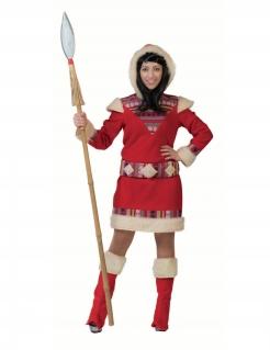 Flauschiges Eskimo-Kostüm für Damen Faschingskostüm rot-weiss