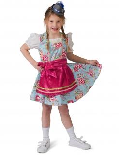 Dirndl-Kostüm für Mädchen Faschingskostüm blau-pink