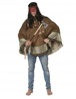 Indianer-Kostüm für Erwachsene Indianer-Poncho Deluxe braun