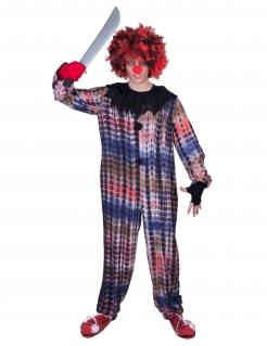 Horror-Clown-Kostüm für Herren Halloween-Overall bunt