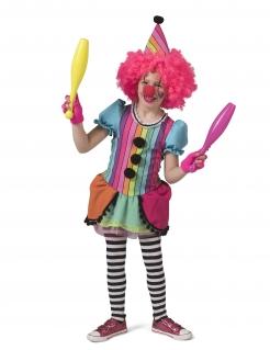 Lustiges Clown-Kostüm für Mädchen Faschingskostüm Regenbogenfarben