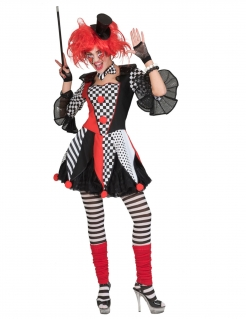 Harlekin-Kostüm für Damen Faschingskostüm rot-schwarz-weiss
