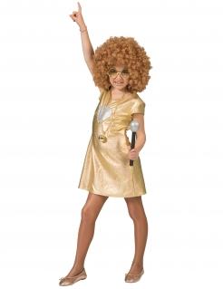 70er-Kostüm für Mädchen Disco-Kleid Fasching gold-silber