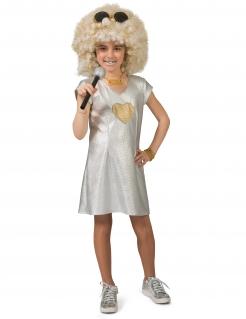 Disco-Kleid für Mädchen 70er-Kostüm Fasching silber-gold