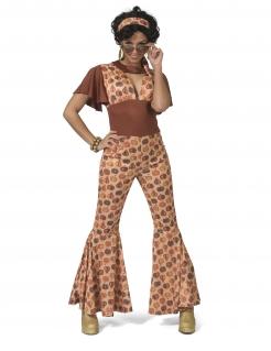 Disco-Kostüm für Damen 70er Jahre Faschingskostüm braun