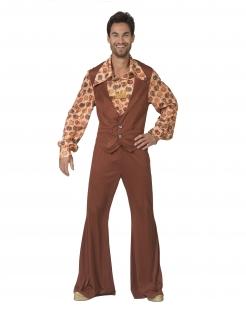 70er-Kostüm für Herren mit Schlaghose Faschingskostüm braun