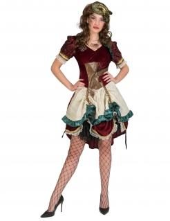 Steampunk-Kleid Steampunk-Kostüm für Damen rot-gold