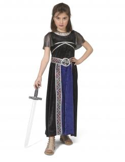 Kriegerin-Kostüm für Mädchen Faschingskostüm schwarz-blau