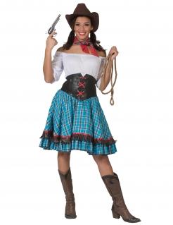 Cowgirl-Kostüm für Damen blau-braun