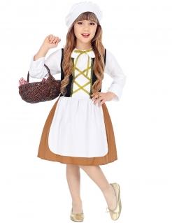Magd-Kostüm für Mädchen Mittelalter Faschingskostüm weiss-braun